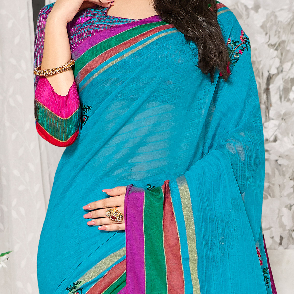 Energetic Blue Colored Party Wear Embroidered Cotton Silk Saree With Tassels