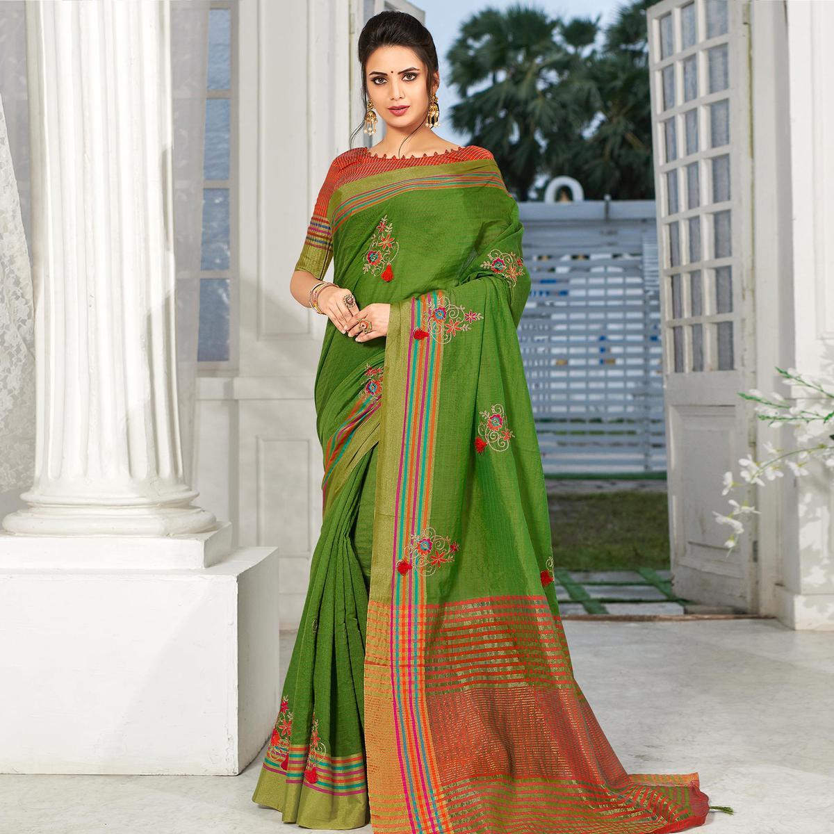 Glowing Green Colored Party Wear Embroidered Cotton Silk Saree With Tassels