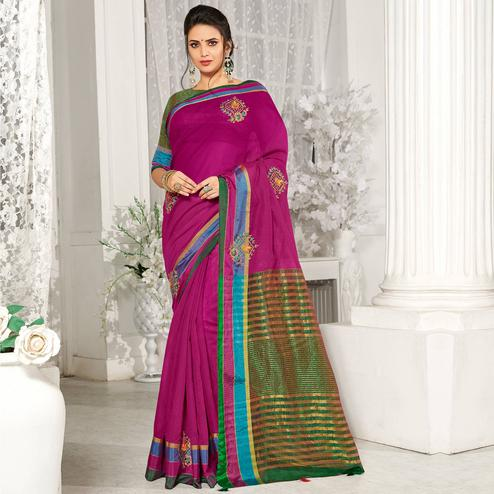 Exceptional Magenta Pink Colored Party Wear Embroidered Cotton Silk Saree With Tassels