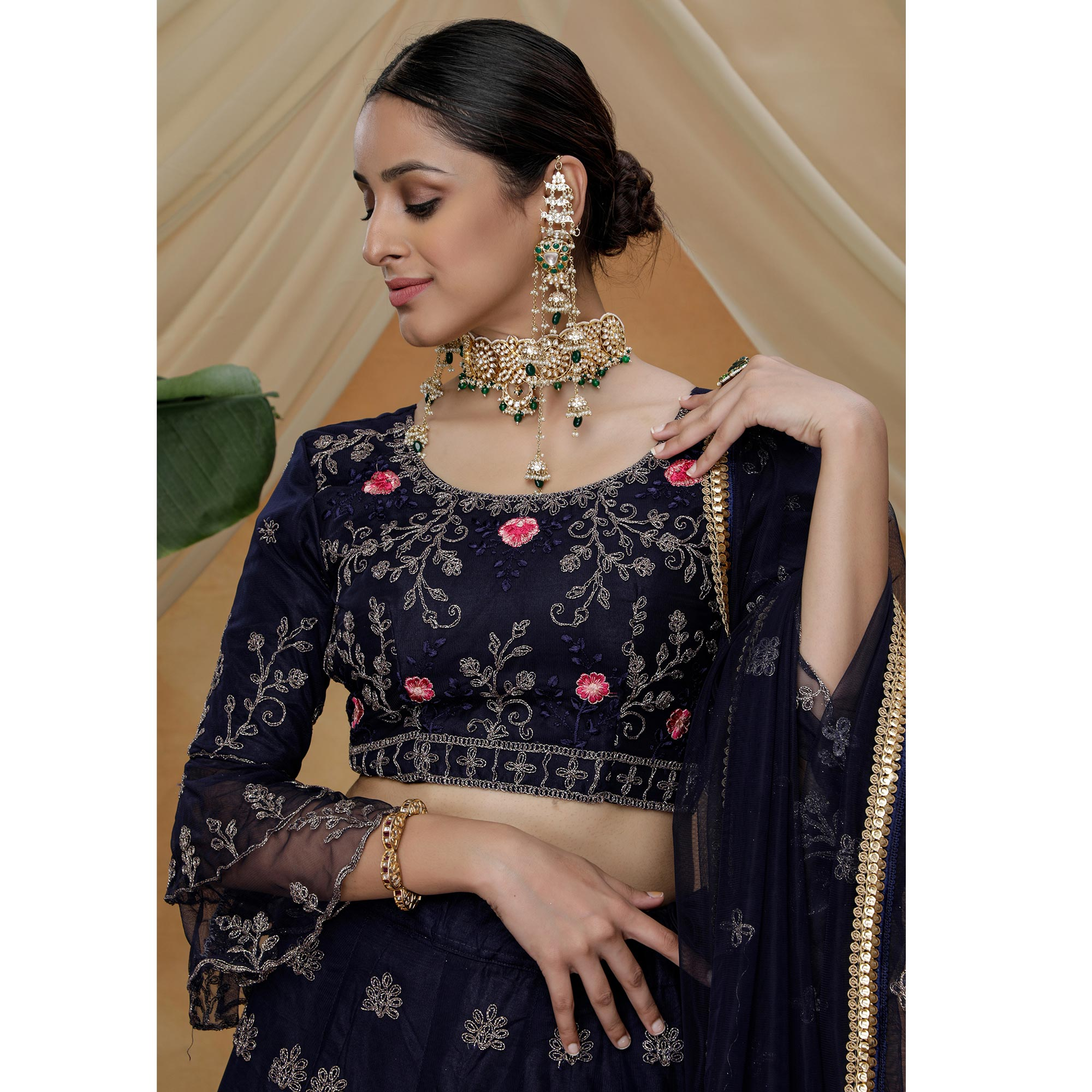 Delightful Black Colored Party Wear Heavy Embroidered Net Lehenga Choli