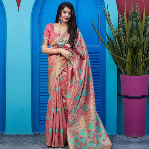 Intricate Pink Colored Festive Wear Woven Silk Saree