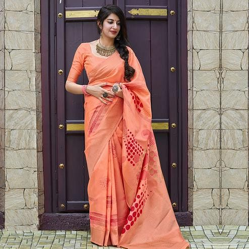 Trendy Peach Colored Festive Wear Woven Silk Saree
