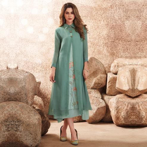 Glorious Green Colored Party Wear Floral Embroidered Viscose-Muslin Cotton Silk Kurti