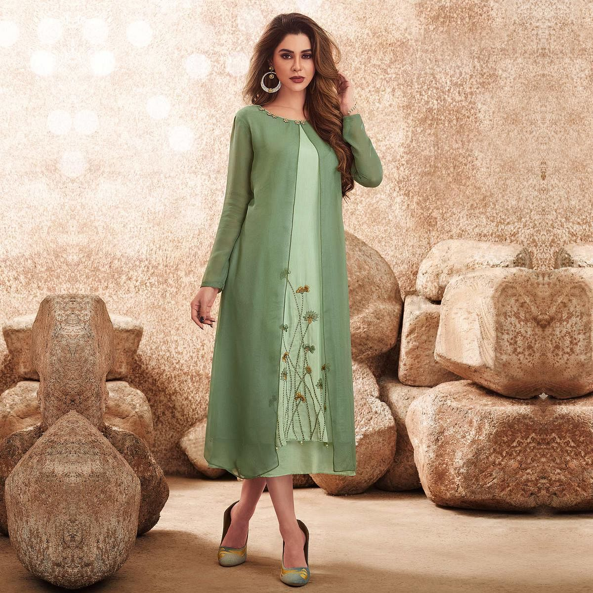Graceful Green Colored Party Wear Floral Embroidered Viscose-Muslin Cotton Silk Kurti