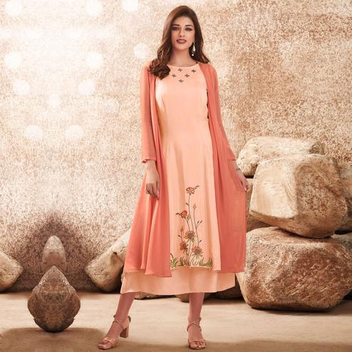 Blooming Peach Colored Party Wear Floral Embroidered Viscose-Muslin Cotton Silk Kurti