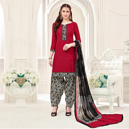 Maroon Casual Printed Cotton Slub Salwar Suit