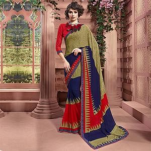 Multi Colored Designer Partywear Printed Weightless Georgette Saree