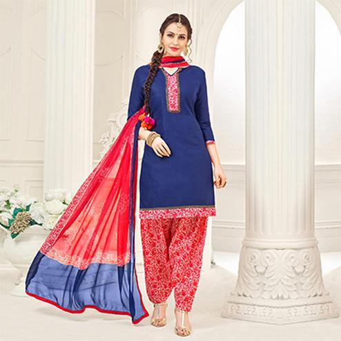Navy Casual Printed Cotton Slub Salwar Suit