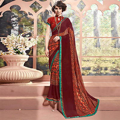 Maroon Designer Partywear Printed Weightless Georgette Saree