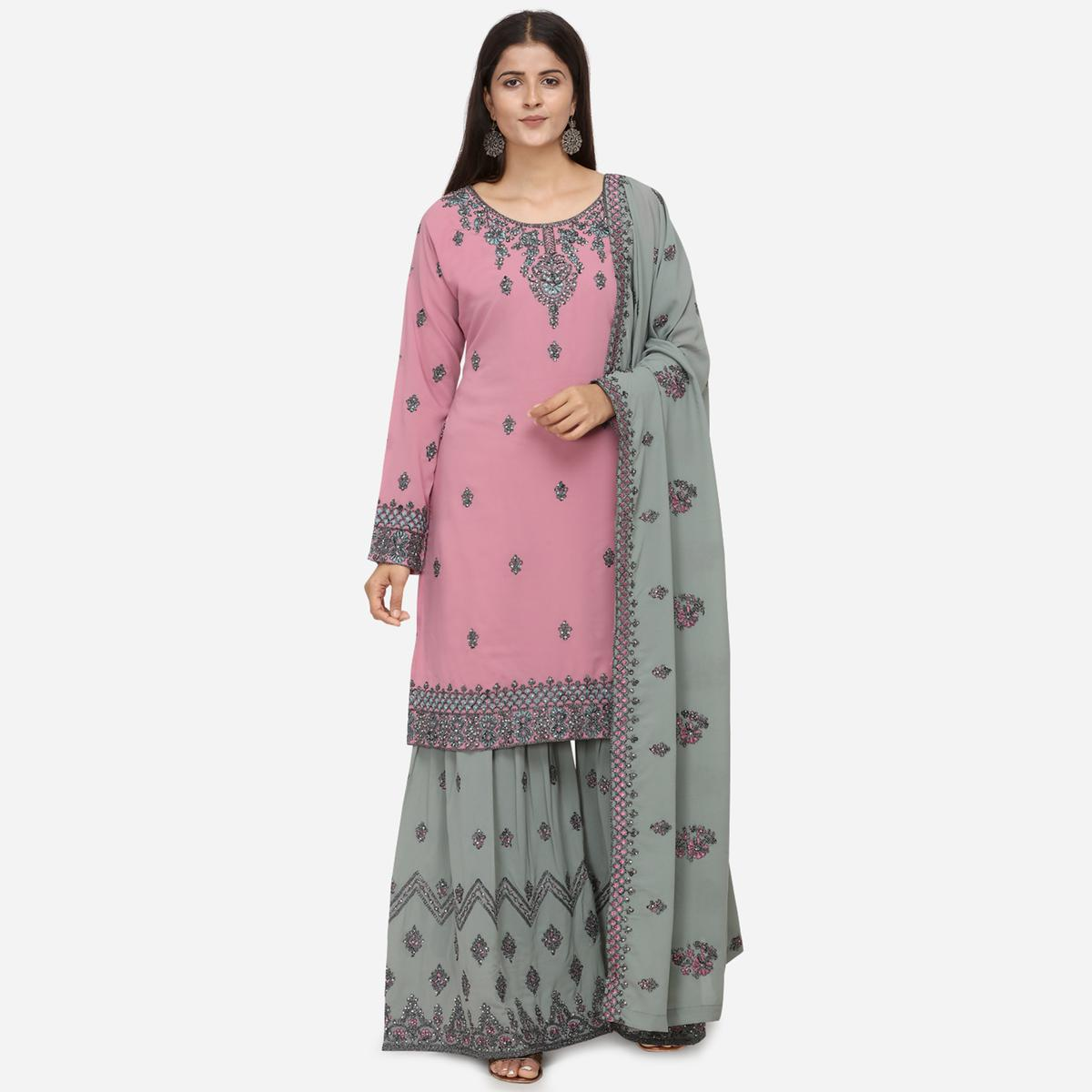 Radiant Pink Colored Partywear Heavy Embroidered Georgette Sharara Style Suit