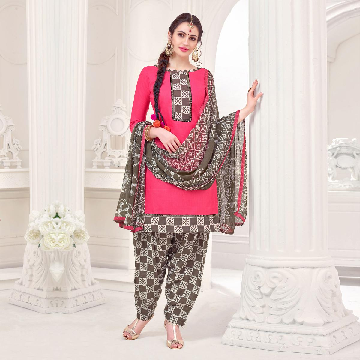 Pink Casual Printed Cotton Slub Salwar Suit