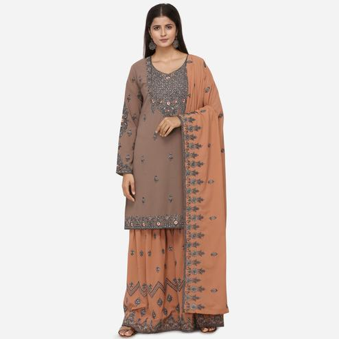 Gleaming Brown Colored Partywear Heavy Embroidered Georgette Sharara Style Suit
