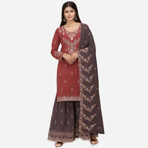 Unique Reddish Brown Colored Partywear Heavy Embroidered Georgette Sharara Style Suit