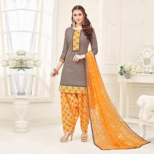 Brown Casual Printed Cotton Slub Salwar Suit