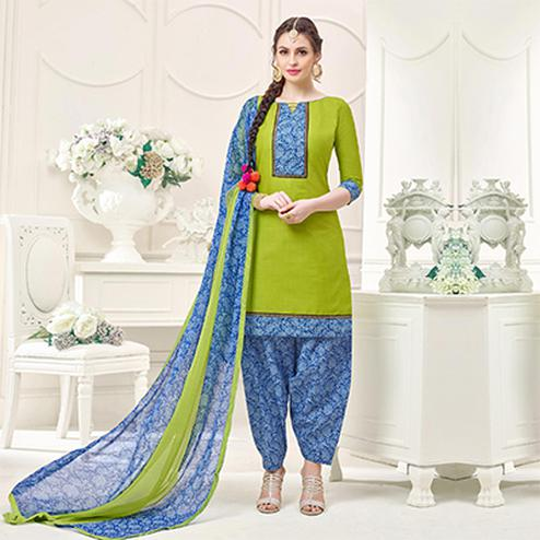 Green Casual Printed Cotton Slub Salwar Suit
