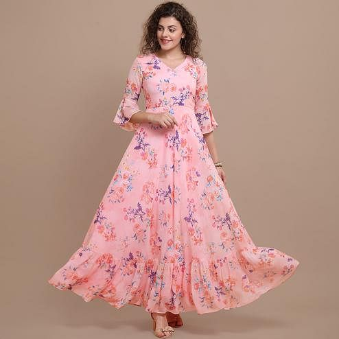 Delightful Pink Colored Casual Wear Printed Faux Georgette Gown