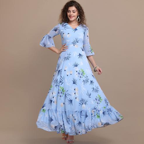Engrossing Blue Colored Casual Wear Printed Faux Georgette Gown