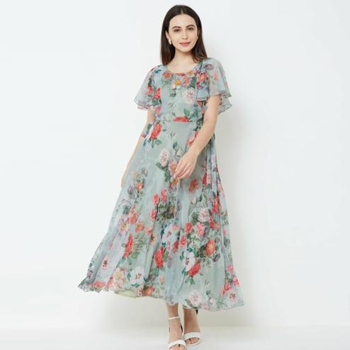 Lovely Vintage Green Colored Partywear Printed Chiffon Gown