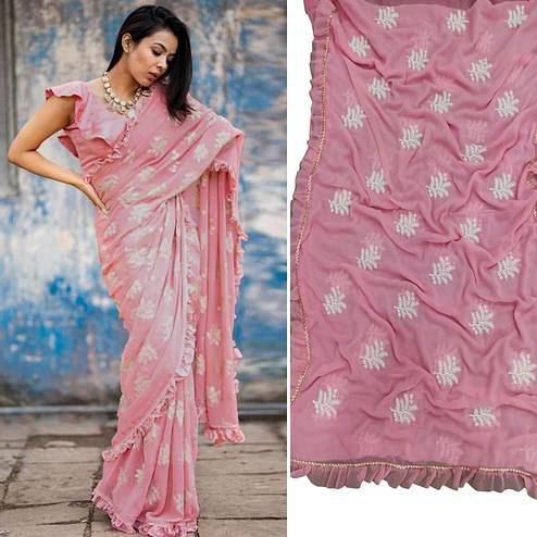 Impressive Pink Colored Partywear Embroidered Georgette Saree With Ruffle