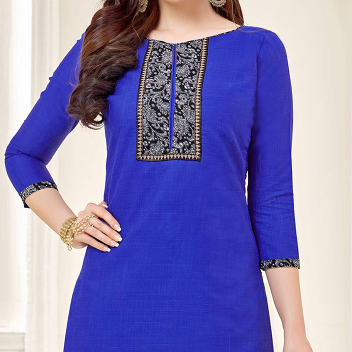 Royal Blue Casual Printed Cotton Slub Salwar Suit