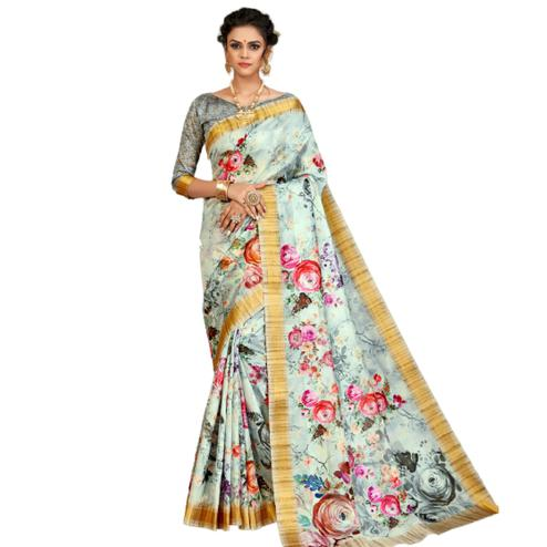 Arresting Sky Blue Colored Partywear Printed Tusser Satin Saree