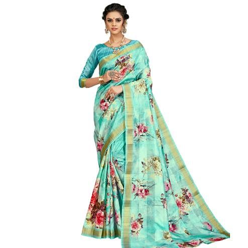 Exotic Turquoise Blue Colored Partywear Printed Tusser Satin Saree