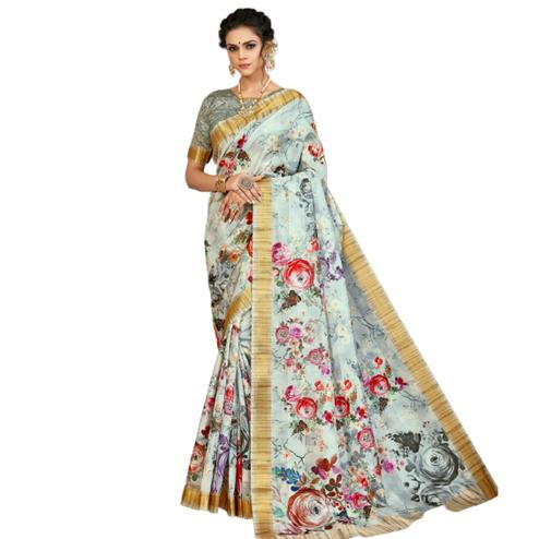 Radiant Light Grey Colored Partywear Printed Tusser Satin Saree