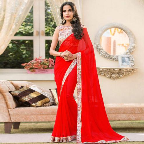 Pleasant Red Colored Partywear Printed Chiffon Saree