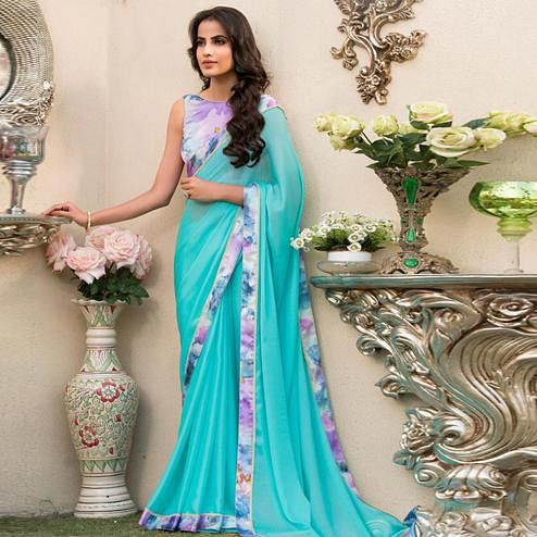 Opulent Aqua Blue Colored Partywear Printed Chiffon Saree