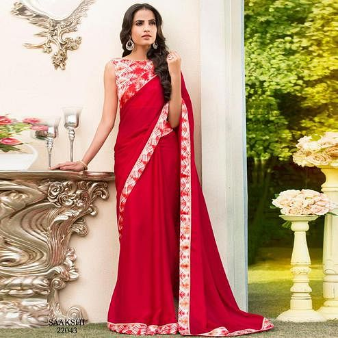 Energetic Ruby Red Colored Partywear Printed Chiffon Saree