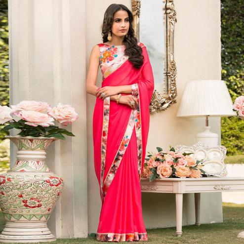 Glowing Reddish Pink Colored Partywear Printed Chiffon Saree