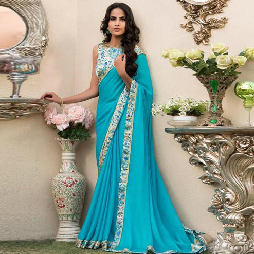 Exceptional Aqua Blue Colored Partywear Printed Chiffon Saree