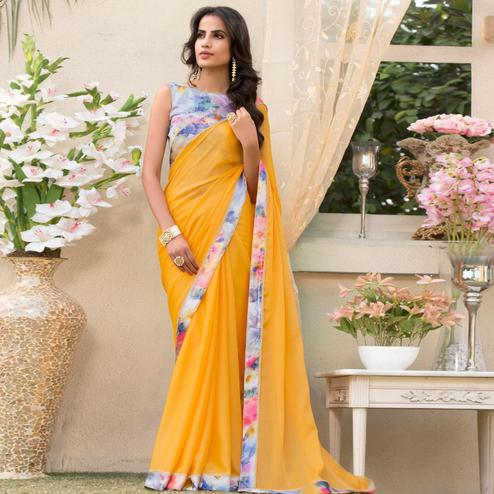 Unique Yellow Colored Partywear Printed Chiffon Saree