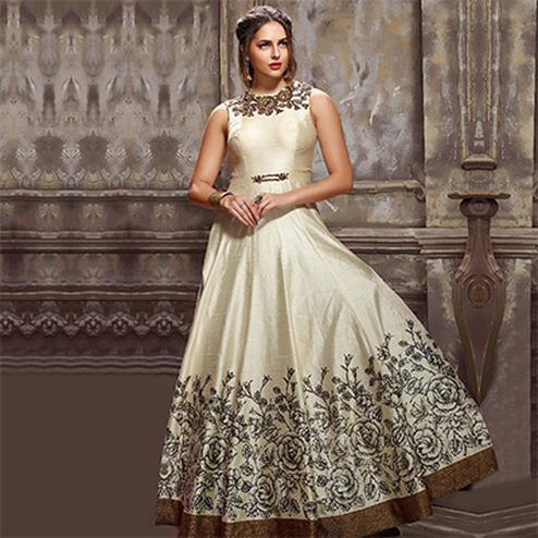 Classy Cream Designer Partywear Hand Embroidered Banglori Silk Gown