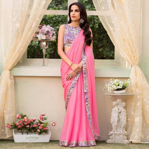 Demanding Light Pink Colored Partywear Printed Chiffon Saree