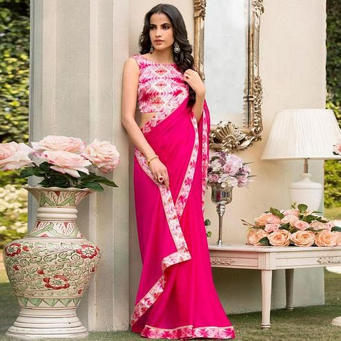 Refreshing Dark Pink Colored Partywear Printed Chiffon Saree