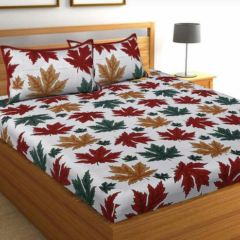 Attractive White-Red Colored Printed Cotton Bedsheet With 2 Pillow Cover