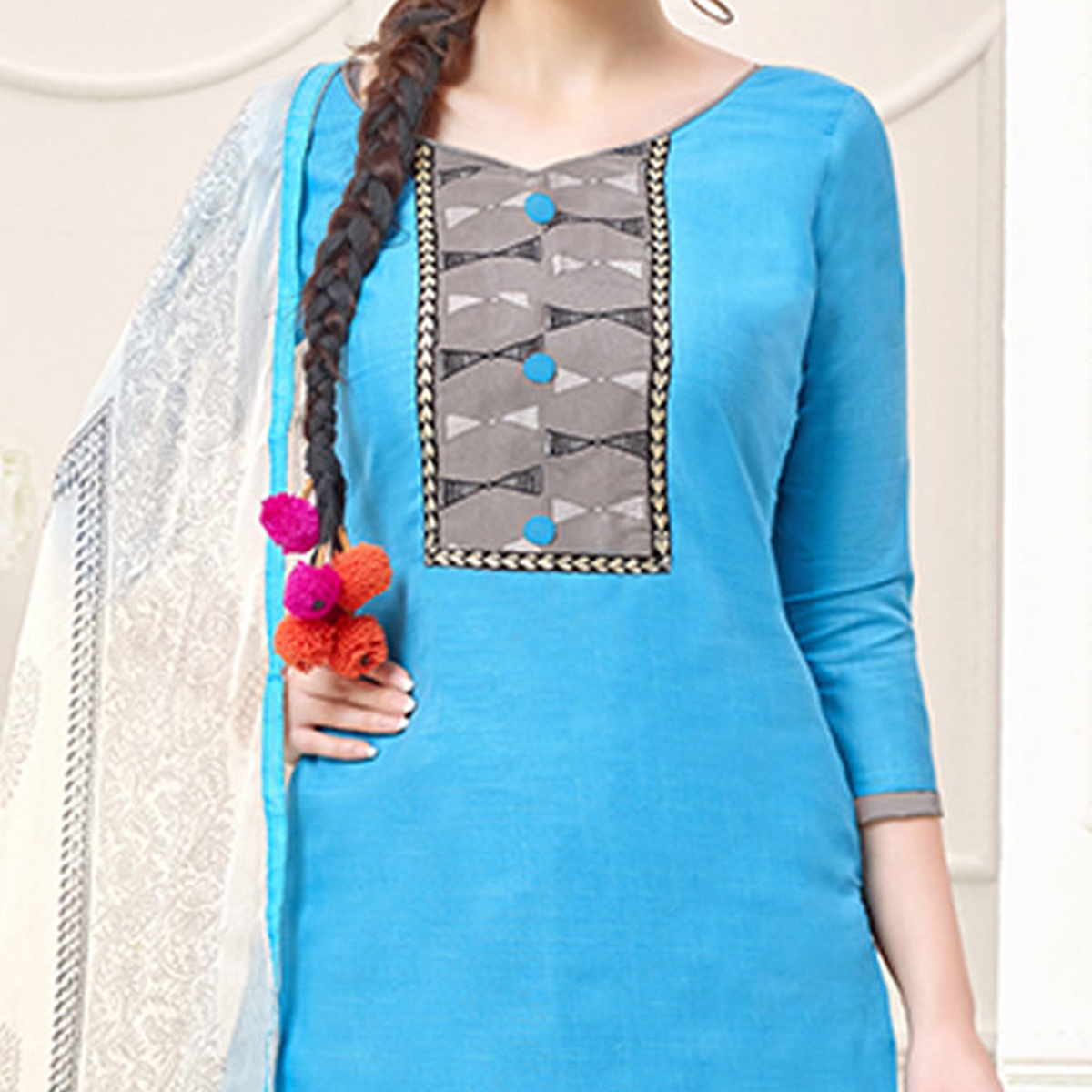 Blue Casual Printed Cotton Slub Salwar Suit