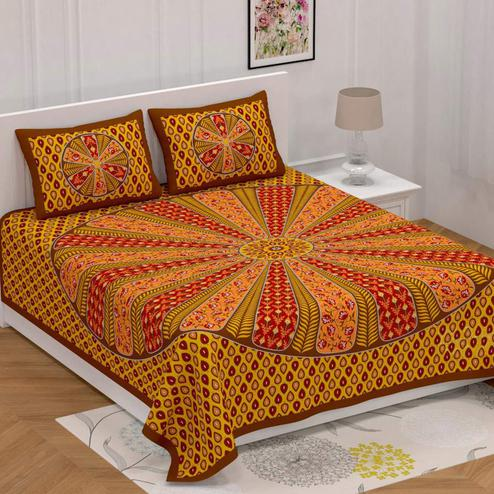 Jazzy Mustard Yellow-Red Colored Printed Cotton Bedsheet With 2 Pillow Cover