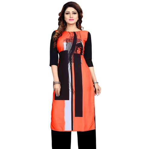Intricate Orange Colored Casual Wear Printed Calf Length Straight Crepe Kurti