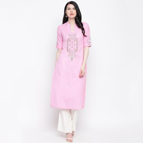 Vbuyz Women's - Pink Colored Casual Embroidered Cotton Straight Kurti