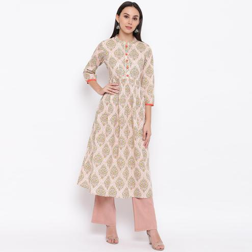 Vbuyz Women's - Green-Pink Colored Casual Printed Cotton Anarkali Kurti