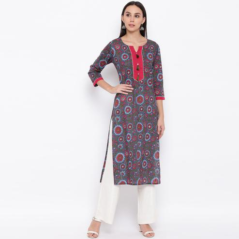 Vbuyz Women's - Grey-Pink Colored Casual Printed Cotton Straight Kurti