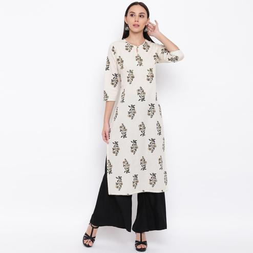 Vbuyz Women's - Off White Colored Casual Floral Printed Cotton Kurti