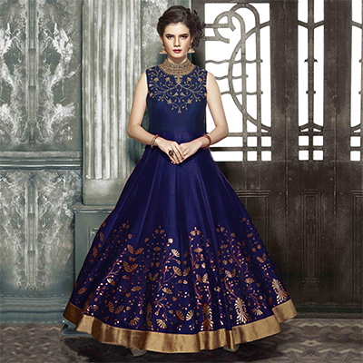 Sizzling Navy Designer Partywear Hand Embroidered Banglori Silk Gown
