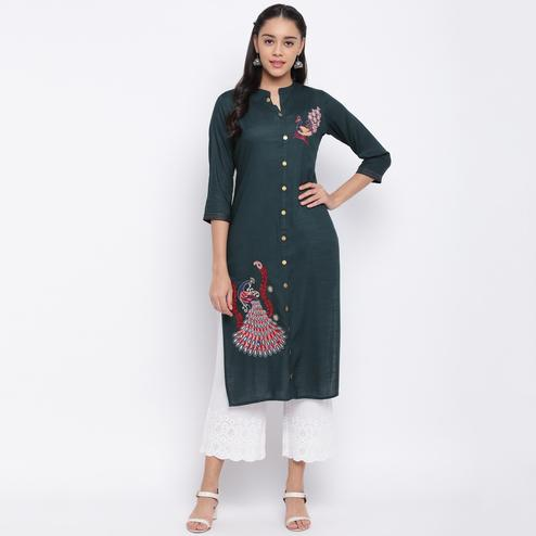 Vbuyz Women's - Teal Green Colored Casual Embroidered Straight Rayon Kurti