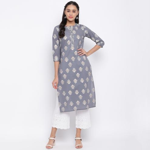 Vbuyz Women's - Grey Colored Casual Printed Cotton Straight Kurti