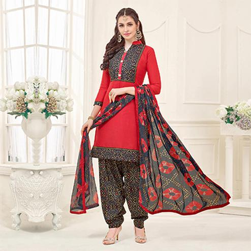 Red Casual Printed Cotton Slub Salwar Suit