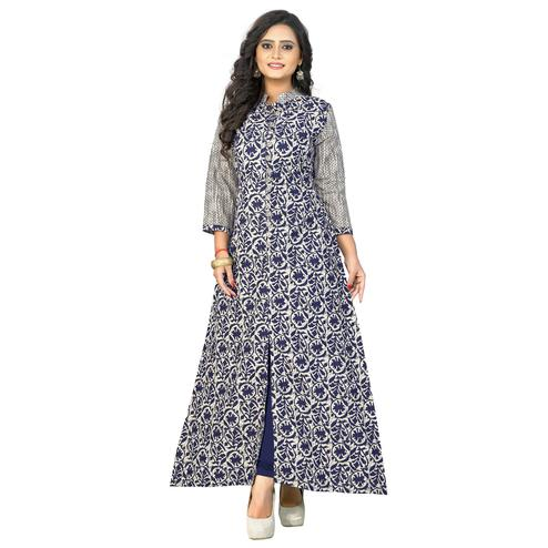 Vbuyz Women's - Blue Colored Casual Printed Cotton A-Line Kurti