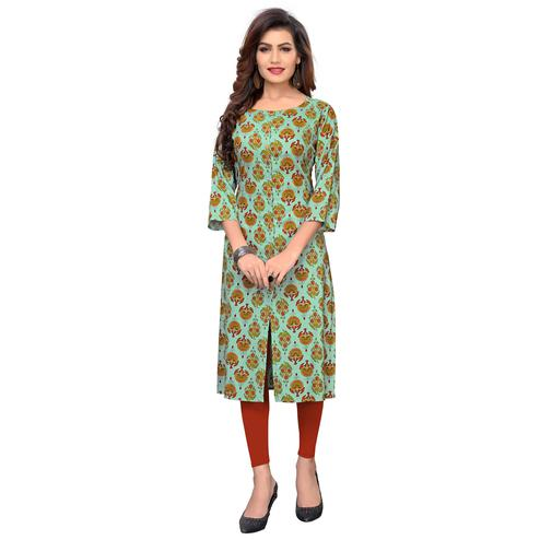 Vbuyz Women's - Turquoise Colored Casual Printed Cotton Straight Kurti